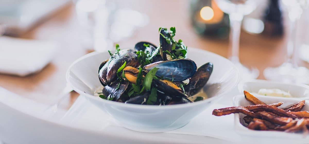 Middag musslor på Smögens Hafvsbad